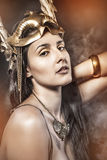 Myth Queen, young with golden mask, ancient goddess Royalty Free Stock Photography