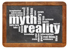 Myth and reality word cloud. On an isolated vintage slate blackboard Royalty Free Stock Images