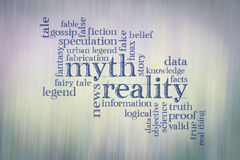 Myth and reality word cloud. Myth versus reality word cloud - handwriting against color motion blur background Stock Images