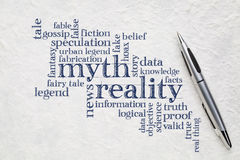 Myth and reality word cloud Stock Photography