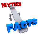 Myth versus facts. Facts winning against myth or lie, concept of victory of truth and myth busting Royalty Free Stock Photo