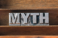 Myth word tray stock photo