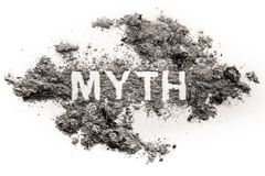 Myth word written in ash or dust. As urban false old fake legend, fiction magical literature book metaphor, lie or deception truth concept, superstition and royalty free stock image