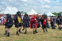 Mythago Morris Dancers, het Middeleeuwse Festival van Tewkesbury, Engeland stock afbeeldingen
