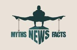 Mythes et équilibre de faits Concept des échelles Image libre de droits