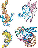 Mythic creatures. Birds, fish, devil. Set of color vector illustrations stock illustration