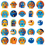 Mythic creatures collection, vector modern art. Set of fantastic. Odd characters expressing different emotions vector illustration