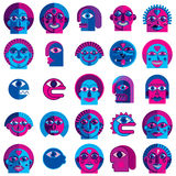 Mythic creatures collection, vector modern art. Set of fantastic. Odd characters expressing different emotions royalty free illustration