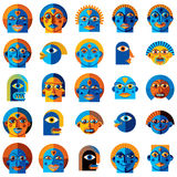 Mythic creatures collection, vector modern art. Set of fantastic. Odd characters expressing different emotions stock illustration