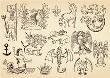 Mythic creatures. Hand drawn mythic creatures set royalty free illustration