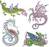 Mythic dragons. Four mythic dragons. Set of color vector illustrations vector illustration