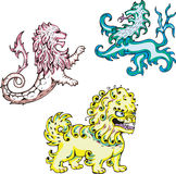 Mythic lions. Three mythic lions. Set of color vector illustrations vector illustration