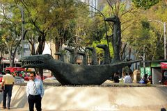 Mythic sculpture in the Paseo de Reforma in Mexico city. Central street in CDMX Paseo de la Reforma and a symbolic creature Stock Photography
