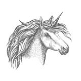 Mythic unicorn horse vector sketch. Unicorn head sketch. Heraldic equine head of mythical horse, with long horn and wavy mane. Mythic isolated symbol of fantasy royalty free illustration