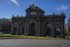 Mythical alcala door in the capital of Spain, Madrid Stock Image