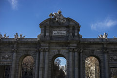 Mythical alcala door in the capital of Spain, Madrid Stock Images