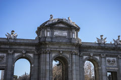 Mythical alcala door in the capital of Spain, Madrid Stock Photo