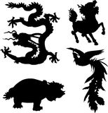 Mythical animal. The four ancient Chinese myth of animals Stock Images