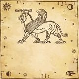 Mythical Assyrian winged lion Royalty Free Stock Photos