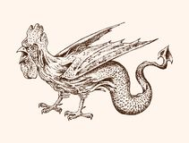 Mythical Basilisk. Ancient Mythology. Bird and animal, creature cock in the old vintage style. Engraved hand drawn old. Sketch Royalty Free Stock Images