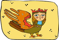 Mythical bird. With a head of the girl Royalty Free Stock Photo