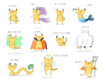 Mythical cats. Hand drawn vector doodles of cute cats mythical creatures - unicorn, mermaid, fairy, vampire, sphinx, ghost, dragon, angel and devil, with text Stock Photo