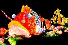 Mythical Chinese fish scene at night Stock Image