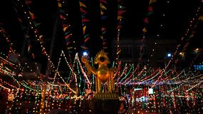 Mythical creature. Golden statue of mythical creature guarding a temple