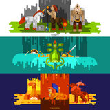 Mythical Creatures Banners Horizontal Stock Photo