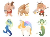 Mythical creatures. Flying lion cyclop minotaur pegasus griffin centaur vector cartoon characters royalty free illustration