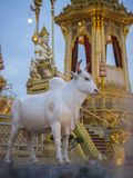 Mythical creatures of Himvanta. Bangkok Thailand, November 11, 2017 : Cow-like mythical creatures of Himvanta around The Royal crematorium of King Rama IV Royalty Free Stock Images
