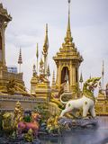 Mythical creatures of Himvanta. Bangkok Thailand, November 11, 2017 : Lion-like mythical creatures of Himvanta around The Royal crematorium of King Rama IV Stock Images