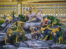 Mythical creatures of Himvanta. Bangkok Thailand, November 11, 2017 : Lion-like mythical creatures of Himvanta around The Royal crematorium of King Rama IV Stock Photography