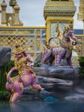 Mythical creatures of Himvanta. Bangkok Thailand, November 11, 2017 : Lion-like mythical creatures of Himvanta around The Royal crematorium of King Rama IV Stock Image