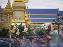 Mythical creatures of Himvanta. Bangkok, Thailand, November 11, 2017 : Naga mythical creatures of Himvanta around The Royal crematorium of King Rama IV Royalty Free Stock Photos