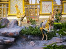 Mythical creatures of Himvanta. Bangkok Thailand, November 11, 2017 : Swan-like mythical creatures of Himvanta around The Royal crematorium of King Rama IV Stock Image