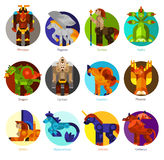 Mythical creatures icons set Stock Image