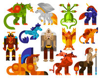Mythical creatures icons Stock Photography