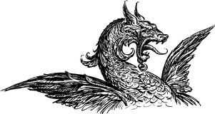 Mythical dragon. Vector rawing of a head of a fairy dragon Royalty Free Stock Image