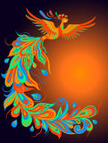 A mythical fire bird. Vector illustration of a mythical bird phoenix on a dark background Stock Photography