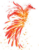 Mythical fire bird on white background. Fiery mythical bird on white background Stock Photo