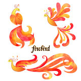 Mythical Firebird set. Watercolor flaming Phoenix symbols Royalty Free Stock Photos