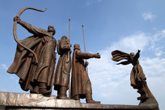 Mythical founders of Kiev on the Dnieper river Stock Photo
