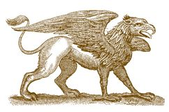 Mythical legendary hybrid creature griffin or gryphon with the front half of an eagle and the rear half of a lion. Mythical legendary hybrid creature griffin or royalty free illustration
