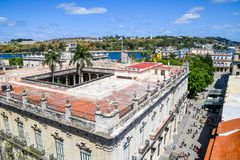 Beautiful Old havana. Mythical Old Havana in Cuba, view from the top of a restaurant Stock Photos
