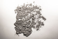 Mythical satyr boy profile face made of ash Royalty Free Stock Image
