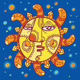 Mythical sun character with a human face Stock Image
