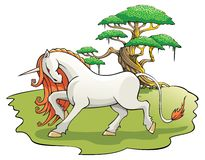 Mythical Unicorn in the enchanted forest Stock Photography