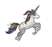 Mythical Unicorn in a magical animal doodle style vector. Stock Image