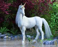 Mythical white Unicorn posing in an enchanted forest . 3d rendering royalty free illustration